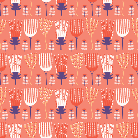 Hand painted large scale floral vector seamless pattern. Coral background.