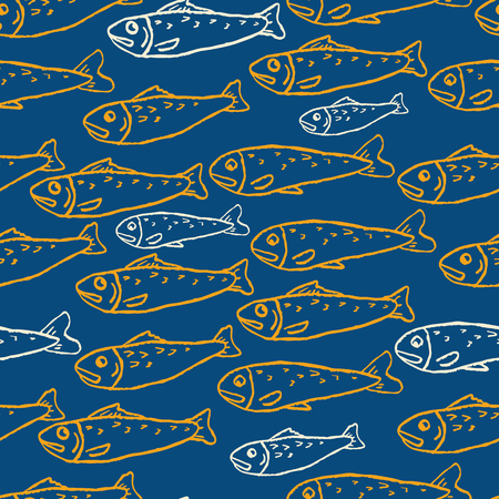 Sardine shoal of fish seamless vector pattern of grilled fishes. Lisbon St Antonio traditional portugese food festival. June Portugal street party . Atlantic ocean animal symbol. Isolated fishing icon