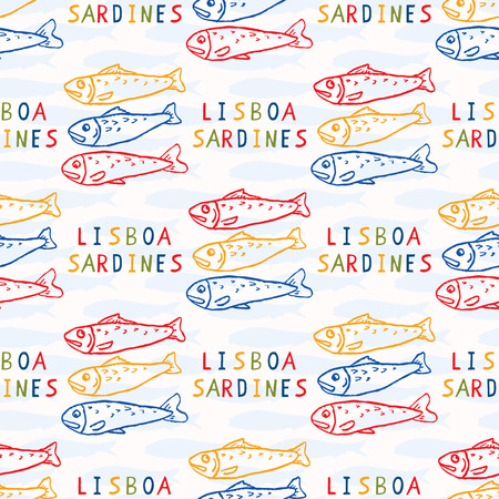 Sardine fish seamless vector pattern. Lisbon St Antonio traditional portugese food festival grilled fishes.