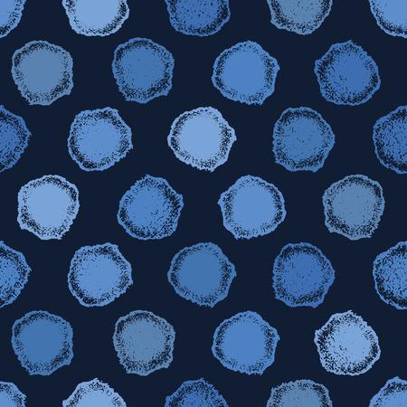ndigo blue hand drawn spotted polka dot circles seamless pattern. Sketchy dotty vector illustration.