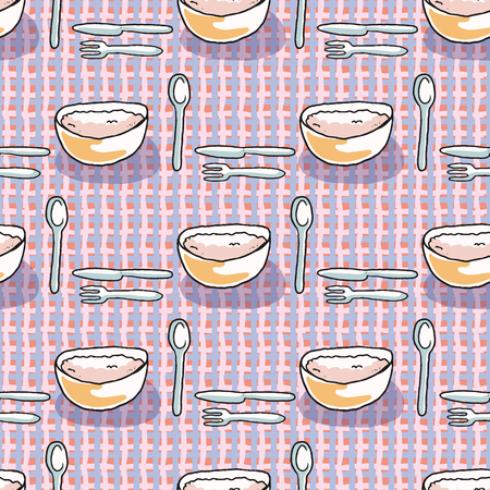 Spoon, Fork, Knife Soup Bowl Vector Food Pattern Seamless Hand Drawn Illustration for Breakfast Menus, Retro Tablecloth Stationery, Kids Gift Wrap, Trendy Fashion Prints, Kitchen Restaurant Packaging