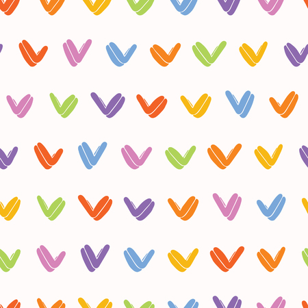 Hand painted rainbow yes tick. Seamless repeat pattern. Childish fun vector illustration.  イラスト・ベクター素材