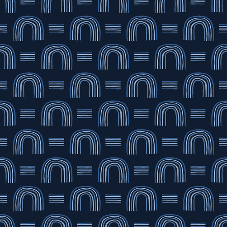 Indigo blue graphic half circle seamless pattern. Modern textured geometric arch vector illustration.