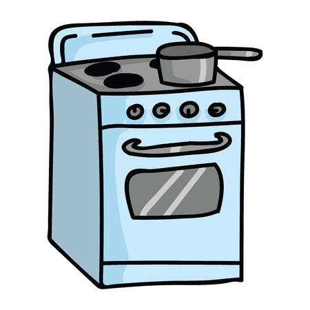 Leuke vintage fornuis top cartoon vector illustratie motief set. Hand getrokken geïsoleerde keuken elementen clipart voor voedsel blog, grafische koken, chef-kok web knoppen.