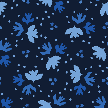 Indigo blue graphicpaper cut birds seamless pattern. Modern flying sky wings vector illustration. Фото со стока - 121286279