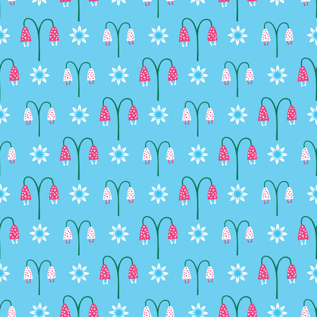 Bright summer bellflower bloom seamless pattern. Stylized retro floral all over print.