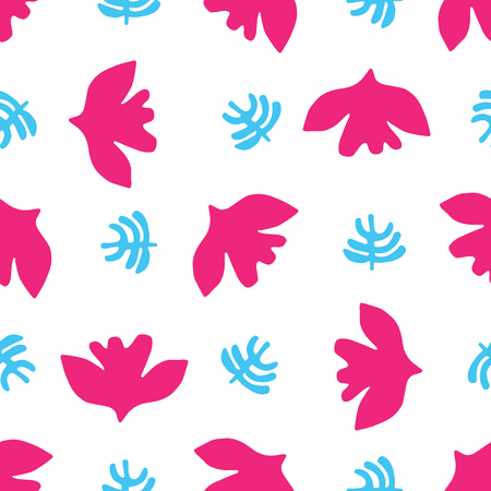 Abstract cut out bird leaf shapes. Vector pattern seamless background. Hand drawn matisse style collage graphic illustration. Trendy home decor, modern fashion prints, tossed fun kids wallpaper. Archivio Fotografico - 123200180