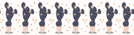 Cactus flowering bloom seamless border pattern. Indoor succulent houseplant flower vector illustration. Repeatable trim graphic design. Hand drawn pretty desert cacti. Garden plant boho decor edging.
