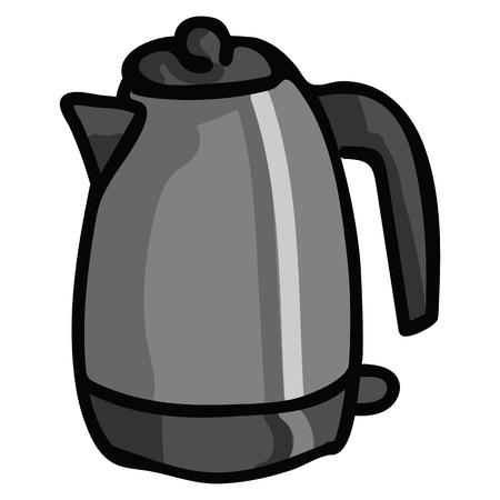 Insieme sveglio del motivo dell'illustrazione di vettore del fumetto del bollitore elettrico. Clipart di elementi di cucina isolati disegnati a mano per blog di cibo, grafica di cucina, pulsanti web di tè. Vettoriali