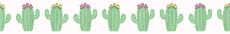 Cactus flowering bloom seamless border pattern. Indoor succulent houseplant flower vector illustration. Repeatable tile graphic design banner .Hand drawn. desert cacti garden plant decor washi tape.