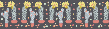 Cactus flowering bloom seamless border pattern. Indoor succulent houseplant flower vector illustration. Repeatable trim graphic design. Hand drawn pretty desert cacti. Garden plant boho decor edging.