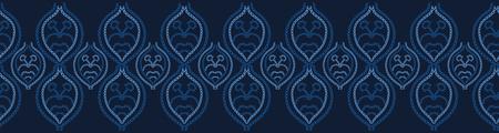 Indigo blue embroidery sashiko style. Japanese needlework seamless border pattern. Hand stitch line, furoshiki wrap textile edging. Modern japan decor, asian ribbon trim. Kimono quilting edge template