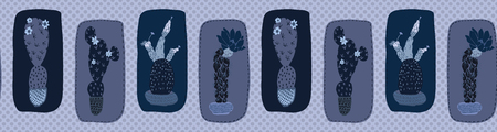 Cactus in plant pot seamless bordepattern. Indoor succulent houseplant vector illustration. Repeatable edging band graphic design print. Hand drawn desert cacti indigo blue dark plant ribbon trim.