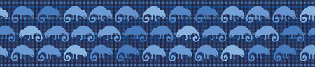Indigo blue chameleon lizard seamless border pattern. Repeatable textured reptile vector illustration. Pet store, zoo camouflage design washi tape. Hand drawn exotic animal silhouette ribbon trim.