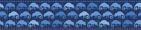 Indigo blue chameleon lizard seamless border pattern. Repeatable textured reptile vector illustration. Pet store, zoo camouflage design washi tape. Hand drawn exotic animal silhouette ribbon trim.