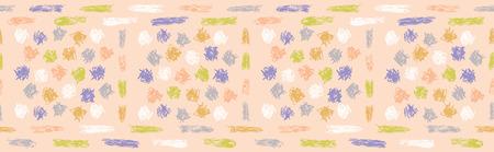 Hand drawn doodle dot lines seamless border pattern. Sketchy creative organic vector illustration. Modern edging graphic design. Fresh gender neutral scandi style scribble. Kid decor ribbon trim