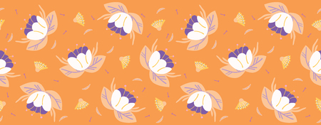 Hand painted small scale floral vector seamless pattern. Orange background. Bellflower stylized blooms. Drawn tiny pretty garden flowers. Bold petal power foliage all over print. Retro vintage style.