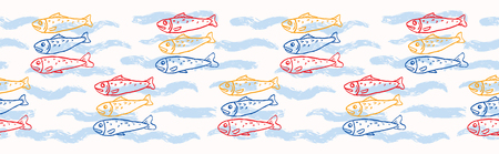 Sardine shoal of fish seamless vector border pattern of grilled fishes. Lisbon St Antonio traditional portugese food festival. June Portugal street party. Atlantic ocean animal ribbon, fishing banner