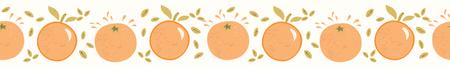 Juice orange citrus fruit with leaves. Hand drawn seamless vector border illustration. Fresh tropical juice splash for healthy vitamin food banner ribbon or washi tape.