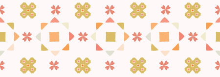 Abstract geometric star flowers quilt grid. Hand drawn seamless vector border.