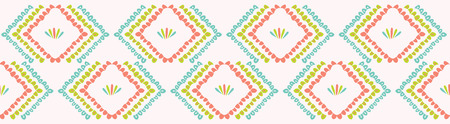 Pretty geometric chevron seamless repeating border. Hand drawn vector illustration. Simple ornamental arrow motif in decorative coral peach, teal white ribbon trim. Summer fashion, retro home decor. 矢量图像