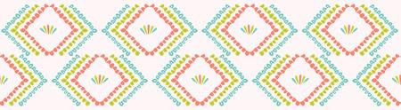 Pretty geometric chevron seamless repeating border. Hand drawn vector illustration. Simple ornamental arrow motif in decorative coral peach, teal white ribbon trim. Summer fashion, retro home decor. Illustration