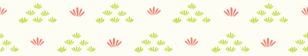Pretty stylized flower grass border. Seamless repeating. Hand drawn trendy floral vector illustration. Geometric petal in decorative coral green ribbon trim. Spring fashion, modern simple home decor.
