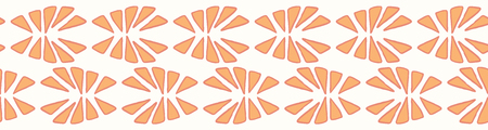 Stylised abstract orange segment slice. Hand drawn seamless vector border illustration. Geometric decorative fruit shape banner ribbon in coral peach color.
