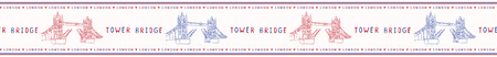Sketchy London Tower Bridge seamless vector border pattern. Famous historical british monument ribbon trim. Travel vacation. Iconic british uk sightseeing symbol. Blue red drawbridge river thames.