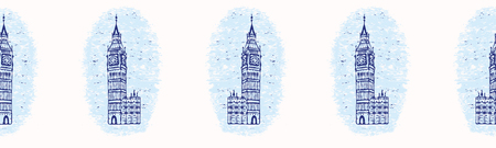 Vignette London Big Ben Clock Tower seamless vector pattern. Famous historical british architecture monument. Travel vacation wallpaper, british uk sightseeing all over print. Iconic blue white .