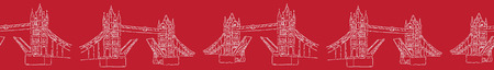 Sketchy London Tower Bridge seamless vector border pattern. Famous historical british monument ribbon trim. Travel vacation. Iconic british uk sightseeing symbol. White red drawbridge river thames.