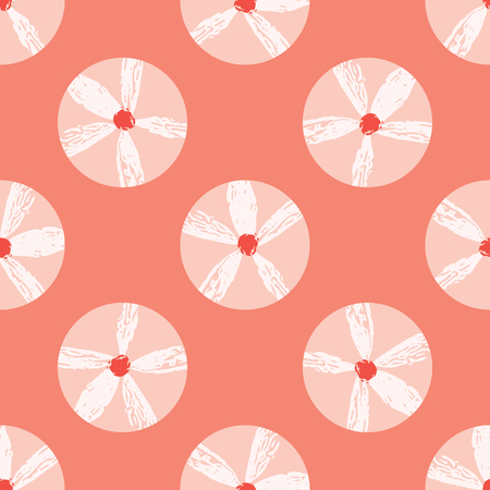Vector Coral Flowers Polka Dots Seamless Repeat Pattern. Geometric Floral Circles 1950s Style Peachy Background. Modern Trendy Summer Fashion Print, Fabric Textile, Stationery, Retro Paper Packaging