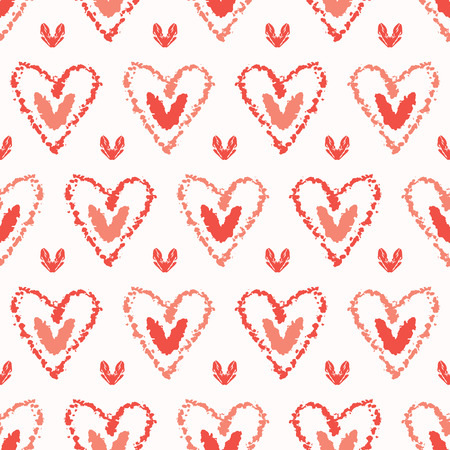 Vector coral and white textured 2 hearts entwined. Seamless repeat pattern.