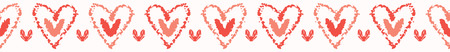 Vector coral and white textured 2 hearts entwined . Seamless repeat border. Hand drawn love heart banner ribbon for romantic valentines day, wedding or anniversary celebration washi tape.