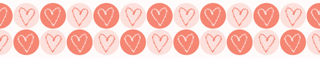 Vector coral and white textured heart circles. Seamless repeat border.  イラスト・ベクター素材
