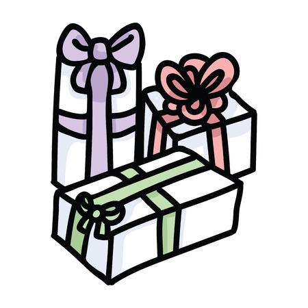 Cute gift box cartoon vector illustration motif set. Hand drawn birthday present wrapping ribbon. Pastel christmas celebration graphics. Decorative party web buttons. Ilustração