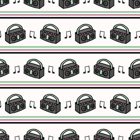 Cute retro boombox stripe cartoon seamless vector pattern. Vector Illustration