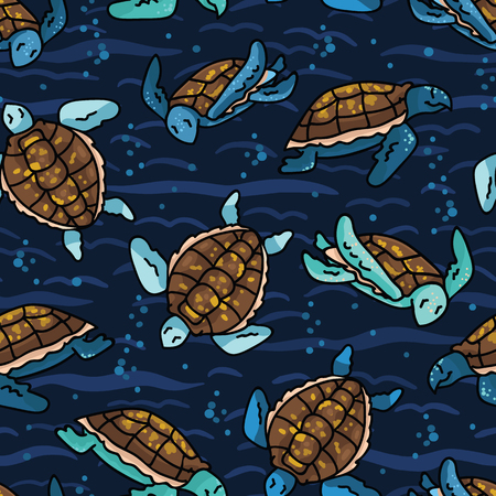 Cute swimming group of sea turtles cartoon seamless vector pattern. Hand drawn endangered ocean life tile.