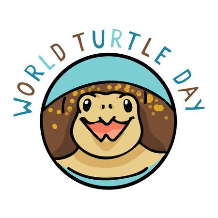 Cute world turtle day logo text cartoon vector illustration motif set.