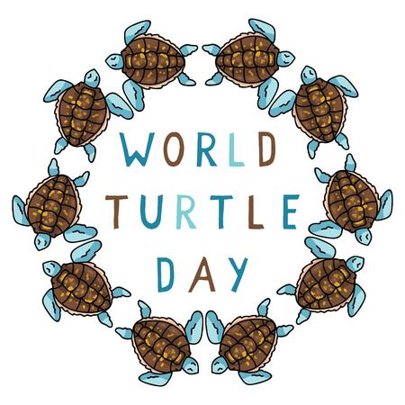 Cute world turtle day blue circle cartoon vector illustration motif set.