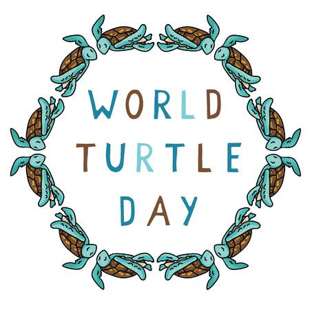 Cute world turtle day circle cartoon vector illustration motif set.