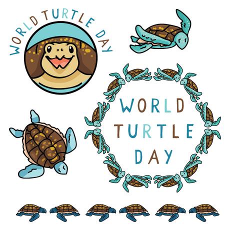 Cute world turtle day graphics cartoon vector illustration motif set