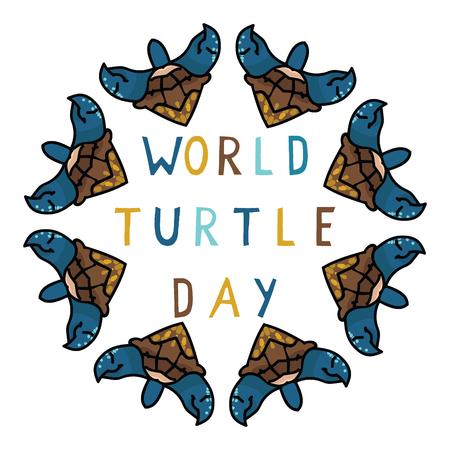 Cute world turtle day kaleidoscope cartoon vector illustration motif set. Illustration