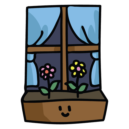 Cute window box with flowers with kawaii face cartoon vector illustration motif set.
