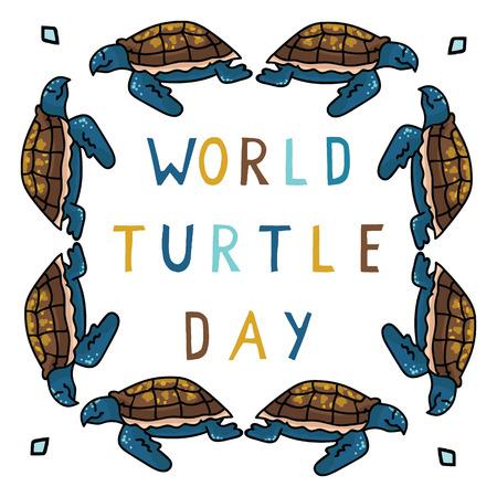 Cute world turtle day cartoon vector illustration motif set.