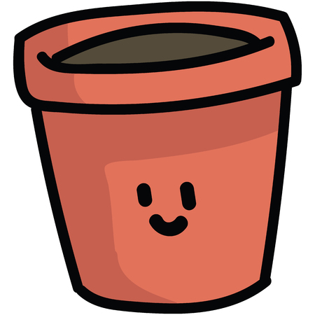 Cute terracotta plant pot with kawaii face cartoon vector illustration motif set. Hand drawn for domestic gardening blog icons. Botanical equipment graphics. Horticulture web buttons. Illusztráció