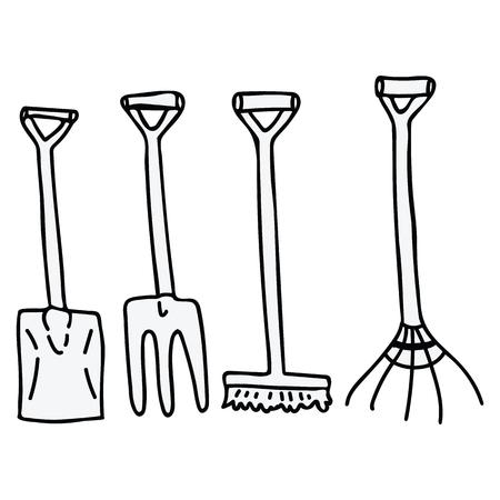 Ładny przebiegłość narzędzia ogrodnicze kreskówka wektor ilustracja motyw zestaw. Ręcznie rysowane ikony bloga łopat, prowizji i miotły. Grafika monochromatyczna sprzętu botanicznego. Przyciski sieci web widłami.