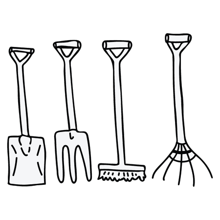Cute lineart gardening tools cartoon vector illustration motif set. Hand drawn spade, rake and broom blog icons. Botanical equipment monochrome graphics. Pitchfork web buttons.