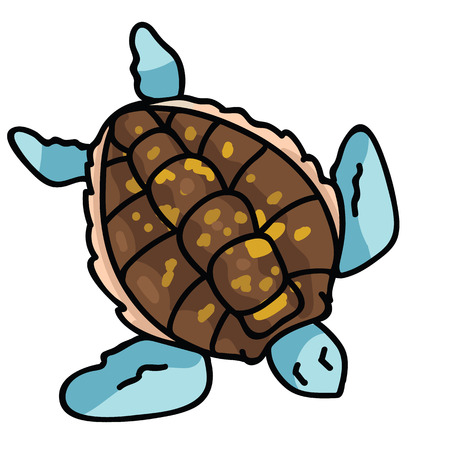 Cute sea turtle top view cartoon vector illustration motif set. Hand drawn isolated endangered ocean life elements clipart for animal conservation blog, world turtle day web buttons.