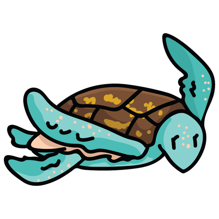 Cute swimming sea turtle cartoon vector illustration motif set. Hand drawn isolated endangered ocean life elements clipart for animal conservation blog, world turtle day web buttons.